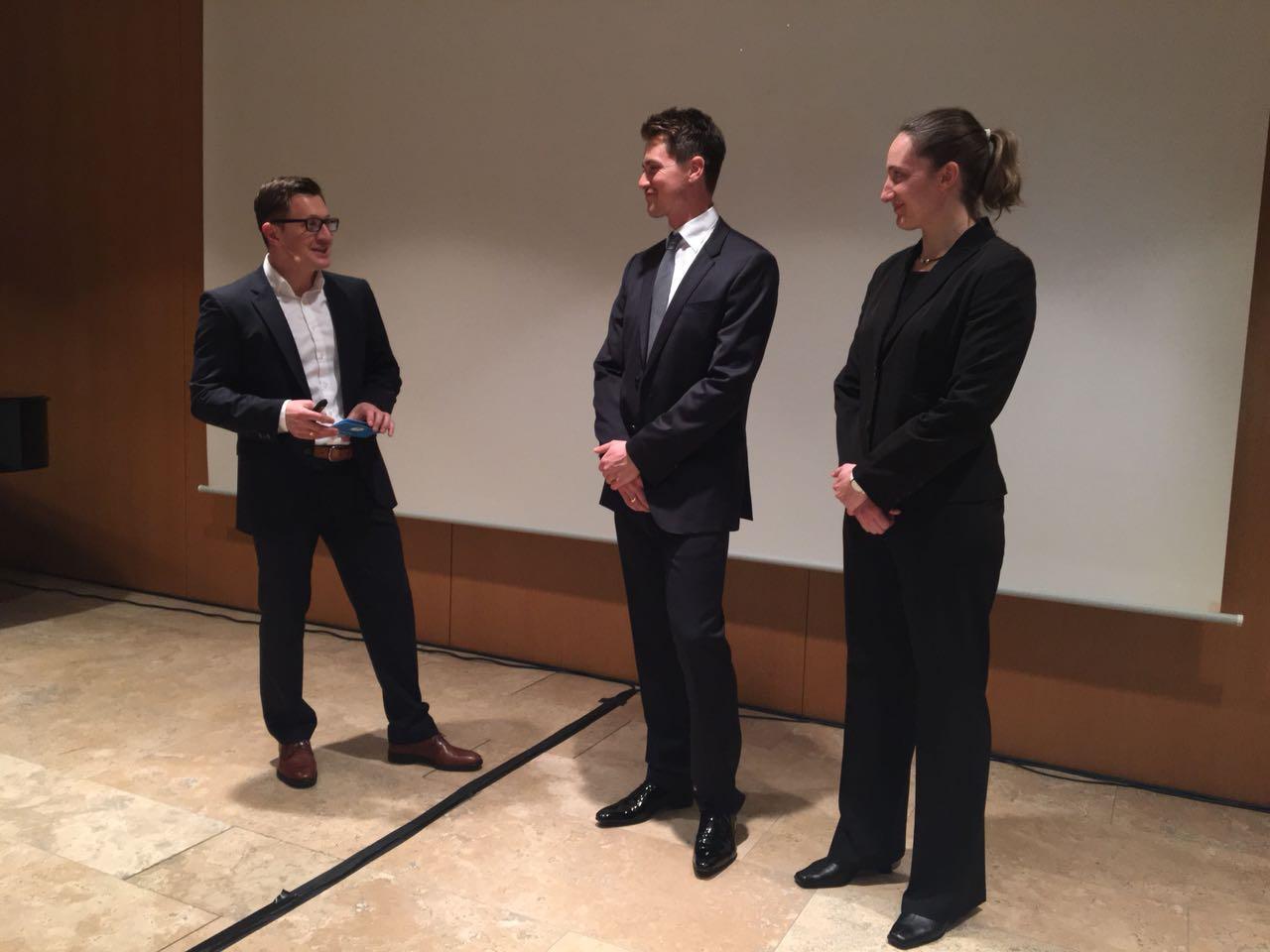 Loyale Partnerschaften: Die BSC berät u.a. auch Profisportler. An diesem Abend waren mit Johannes Ludwig und Tatjana Hüfner zwei Olympiasieger im Rennrodeln als Gäste geladen.